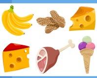Food objects cartoon set illustration Royalty Free Stock Image