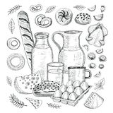Food objects drawing elements. Sketch style Hand drawing vector illustration Stock Photo