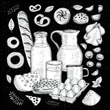 Food objects drawing elements. Sketch style Hand drawing vector illustration Royalty Free Stock Images
