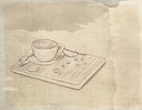 A cup of coffee with biscuits with vintage background. Of food and objects related to the house and to the kitchen Royalty Free Stock Photos
