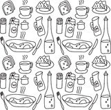Food objects seamless pattern Stock Image