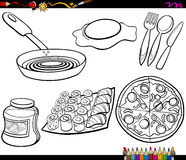 Food objects set coloring page Stock Photos