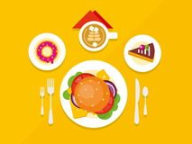 Food Objects on Table Flat Design Royalty Free Stock Image