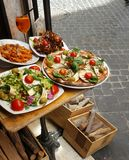 Food offered by Trattoria in Rome  Royalty Free Stock Images