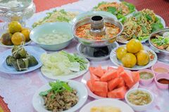 Food offerings. To the Buddha, merit raising in Thailand Stock Photography