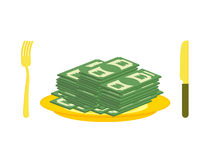 Food oligarch. Bundles of money, cash eats for breakfast. Gold c Royalty Free Stock Image