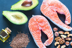 Food with Omega-3 fats Stock Images