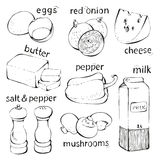 Food omelette ingredients Stock Photos
