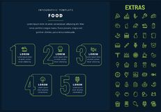 Food infographic template, elements and icons. Food options infographic template, elements and icons. Infograph includes line icon set with food ingredients stock illustration