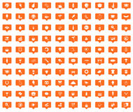 Food orange message icons set. Images in filled chat bubbles on white background Royalty Free Stock Image