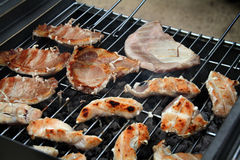 Food on outdoor bar-b-que. Royalty Free Stock Photos