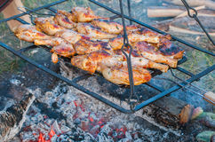 Food outdoors: chicken legs on grill Royalty Free Stock Photo