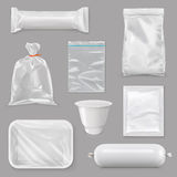 Food Packaging For Different Snack Products Stock Photo