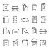 Food packaging symbols, line art icon set stock illustration