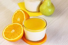 Food. Panna cotta. Italian milk citrus dessert made of yoghurt a royalty free stock photo