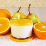 Food. Panna cotta. Italian milk citrus dessert made of yogurt an royalty free stock photos