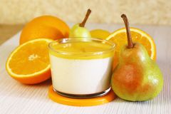 Food. Panna cotta. Italian milk citrus dessert made of yogurt an stock images