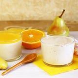 Food. Panna cotta. Milk fruit berry dessert made of yogurt and c stock images