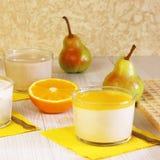 Food. Panna cotta. Milk fruit dessert made of yoghurt and cream royalty free stock photos