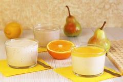 Food. Panna cotta. Milk fruit dessert made of yogurt and cream w stock photos