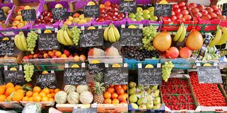 Food: Paris fruit stand on the street Stock Photo