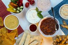 Food - Party Dips - Bread Sticks Stock Photography
