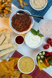 Food - Party Dips - Bread Sticks Royalty Free Stock Photo