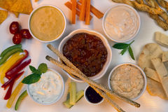 Food - Party Dips - Bread Sticks Royalty Free Stock Photography