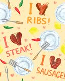Food Passion Seamless Background. Food background, BBQ party seamless pattern, -I love sausage, ribs and stake- design Stock Photos