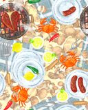 Food Passion Seamless Background, beach. Food background, beach party, cocktail party, BBQ party seamless pattern with Grill and Plates on it, Raster Royalty Free Stock Photo