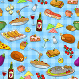 Food pattern. Seamless pattern with delicious food Stock Photo