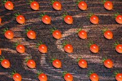 Food pattern, fresh tomato, on wooden background. p Royalty Free Stock Photos