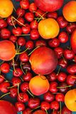Food Pattern Ripe Organic Summer Fruits Berries Sweet Cherries Nectarines Apricots Vibrant Colors on Dark Blue Background. Harvest Clean Eating Healthy Diet Stock Photography