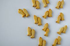 Food pattern- salty snacks on white background stock photos