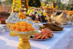 Food pay respect to god. Of Thailand Stock Images