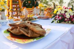 Food pay respect to god. Of Thailand Royalty Free Stock Photography