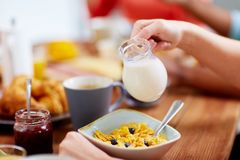 Hands of woman eating cereals for breakfast. Food and people concept - hands of woman eating cereals for breakfast and pouring milk Stock Photos