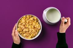 Food and people concept - hands of woman eating cereals corn flakes for breakfast and pouring milk. On the colorful background. Purple background, top view Royalty Free Stock Image