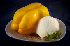 Food. Pepper and fennel and plate Royalty Free Stock Images