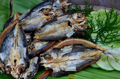 Food from the Philippines, Bangsi, marinated flying fish. The Bangsi is caught, half-dried in the sun and marinated with local spices. It is said that this Stock Photo