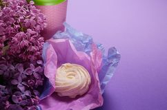 Food Photo of homemade zephyr, marshmallow in violet wrapping paper and coffee to go cup. Sweet dessert on a pink. Food Photo of homemade zephyr, marshmallow royalty free stock photo