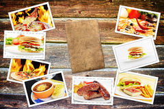 Food photo. Pile on wooden table stock image