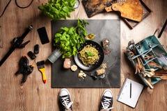 Food photo shoot. Top view royalty free stock photos
