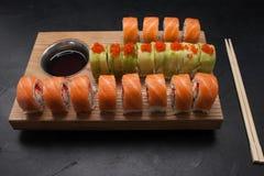 Food photo sushi rolls japanese cuisine concept. Food photography art. sushi rolls assortment. japanese cuisine concept Stock Photography