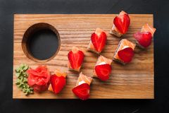 Food photo sushi rolls japanese cuisine concept. Food photography art. sushi rolls assortment. japanese cuisine concept Royalty Free Stock Image