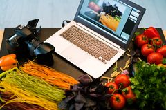 Food photography laptop advertisment e-commerce Royalty Free Stock Images