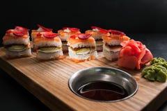 Food photo sushi rolls japanese cuisine concept. Food photography art. sushi rolls assortment. japanese cuisine concept Royalty Free Stock Images