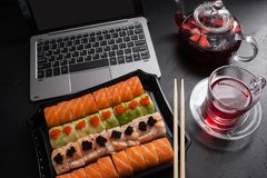 Food photo sushi rolls japanese cuisine concept. Food photography art. sushi rolls set. japanese cuisine dinner delivery concept. Business lunch Royalty Free Stock Image