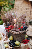 Food Photography Basket with flowers ,berries and pears on the table  Stock Image