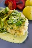 Food photography: chicken breast meat with asparagus and cream sauce Royalty Free Stock Photography